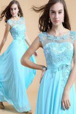 Scoop Sleeveless Floor Length Appliques Zipper Evening Dress with Aqua Blue