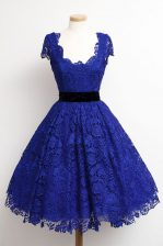 Scoop Cap Sleeves Zipper Knee Length Lace Prom Party Dress