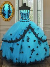 Tulle Strapless Sleeveless Lace Up Appliques Ball Gown Prom Dress in Aqua Blue