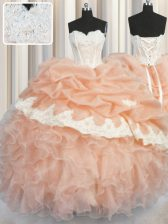 Floor Length Peach Sweet 16 Quinceanera Dress Organza Sleeveless Appliques and Ruffles and Pick Ups