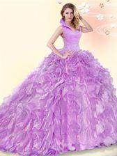 Fabulous Backless Lilac Sleeveless Brush Train Beading and Ruffles Quinceanera Dress