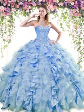 Suitable Blue Sleeveless Organza and Taffeta Lace Up Quinceanera Gown for Military Ball and Sweet 16 and Quinceanera