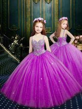 Fuchsia Little Girls Pageant Dress Wholesale Quinceanera and Wedding Party with Beading and Sequins Spaghetti Straps Sleeveless Lace Up