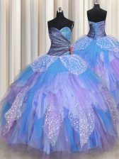 Trendy Multi-color Sleeveless Floor Length Beading and Ruching Lace Up Vestidos de Quinceanera