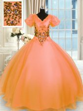 Eye-catching Orange Lace Up Sweet 16 Quinceanera Dress Appliques Short Sleeves Floor Length