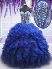 Royal Blue Ball Gowns Beading and Ruffles Quinceanera Gowns Lace Up Organza Sleeveless Floor Length
