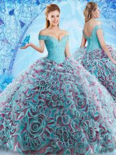 High End Multi-color 15 Quinceanera Dress Off The Shoulder Sleeveless Court Train Backless