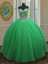 Green Tulle Lace Up Sweetheart Sleeveless Floor Length 15th Birthday Dress Beading