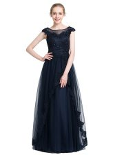 Glorious Sleeveless Tulle Floor Length Zipper Prom Dresses in Black with Beading
