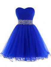Customized Royal Blue A-line Sweetheart Sleeveless Tulle Mini Length Lace Up Beading Prom Dress
