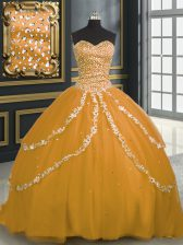 Smart Gold Tulle Lace Up Quinceanera Dress Sleeveless With Brush Train Beading and Appliques