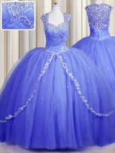 Captivating Zipper Up Blue Ball Gowns Tulle Sweetheart Cap Sleeves Beading and Appliques With Train Zipper Vestidos de Quinceanera Brush Train