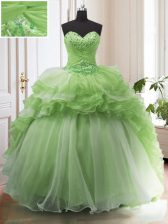 Trendy With Train Quinceanera Dress Organza Court Train Sleeveless Beading and Ruffled Layers