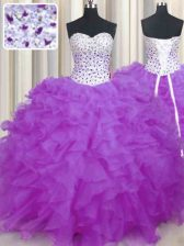 Sleeveless Floor Length Beading and Ruffles Lace Up Sweet 16 Dress with Lilac