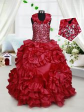 Low Price Halter Top Wine Red Ball Gowns Beading and Ruffles and Sequins Little Girls Pageant Gowns Zipper Taffeta Sleeveless Floor Length