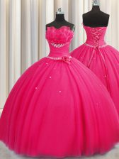 Handcrafted Flower Floor Length Hot Pink Quinceanera Dress Tulle Sleeveless Beading and Sequins and Hand Made Flower