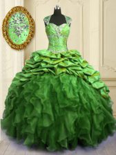 Hot Selling Cap Sleeves Floor Length Beading and Ruffles and Pick Ups Lace Up Quince Ball Gowns