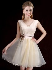 Lovely Champagne Sleeveless Organza Lace Up Damas Dress for Prom and Party and Wedding Party