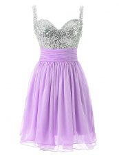Classical Knee Length Zipper Prom Party Dress Lavender for Prom and Party with Beading