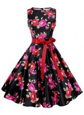 Multi-color Scoop Neckline Sashes ribbons and Pattern Prom Dresses Sleeveless Zipper