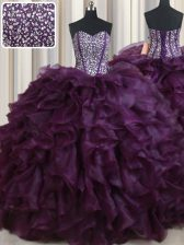 Pretty Dark Purple Ball Gowns Sweetheart Sleeveless Organza Floor Length Lace Up Beading and Ruffles Sweet 16 Dresses
