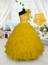 One Shoulder Sleeveless Little Girl Pageant Gowns Floor Length Embroidery and Ruffles Gold Organza