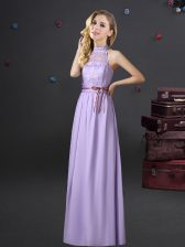 Lavender Empire Halter Top Sleeveless Chiffon Floor Length Lace Up Lace and Belt Quinceanera Court of Honor Dress