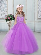 Lilac Bateau Neckline Beading Little Girl Pageant Dress Sleeveless Lace Up