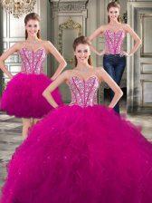 Three Piece Fuchsia Sweetheart Lace Up Beading and Ruffles Ball Gown Prom Dress Sleeveless