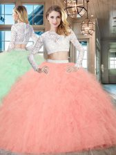 Glamorous Scoop Beading and Lace and Ruffles Quinceanera Gowns Watermelon Red Zipper Long Sleeves Floor Length