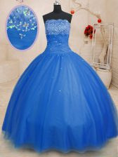 Super Tulle Strapless Sleeveless Lace Up Beading Quinceanera Dresses in Blue