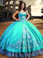 Beauteous Sweetheart Sleeveless Quinceanera Gowns Floor Length Embroidery Aqua Blue Taffeta