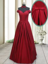 Fantastic Off The Shoulder Sleeveless Taffeta Ruching and Bowknot Lace Up