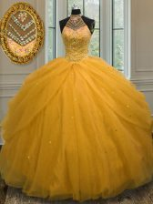 Top Selling Ball Gowns 15 Quinceanera Dress Gold Halter Top Tulle Sleeveless Floor Length Lace Up
