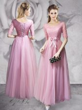 Deluxe Scoop Half Sleeves Lace Up Floor Length Lace and Ruching and Bowknot Prom Party Dress
