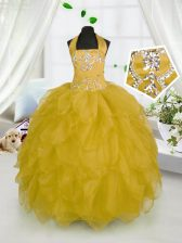 Adorable Organza Halter Top Sleeveless Lace Up Beading and Ruffles Little Girls Pageant Dress in Gold