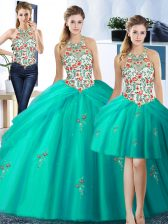Stylish Three Piece Turquoise Ball Gowns Halter Top Sleeveless Tulle Floor Length Lace Up Embroidery and Pick Ups Quinceanera Gowns