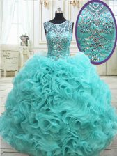 Scoop See Through Fabric with Rolling Flowers Sleeveless Beading Lace Up Vestidos de Quinceanera