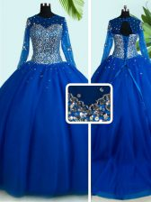 Enchanting Scoop Royal Blue Long Sleeves Brush Train Beading With Train Sweet 16 Dresses