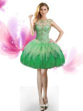 Romantic Green Lace Up Scoop Beading and Ruffles Prom Dresses Tulle Sleeveless