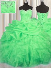 Luxury Pick Ups Floor Length Ball Gowns Sleeveless Green Quinceanera Gowns Lace Up