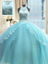 Halter Top Floor Length Lace Up Quinceanera Gown Aqua Blue for Military Ball and Sweet 16 and Quinceanera with Beading and Lace and Appliques