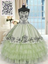 Delicate Yellow Green Organza and Taffeta Lace Up Ball Gown Prom Dress Sleeveless Floor Length Beading and Embroidery and Ruffled Layers