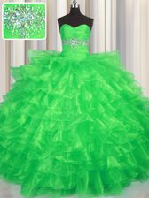 Green Quinceanera Dresses Military Ball and Sweet 16 and Quinceanera with Beading and Ruffled Layers Sweetheart Sleeveless Lace Up