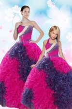 Traditional Taffeta Sweetheart Sleeveless Lace Up Sequins and Pick Ups Sweet 16 Dresses in Multi-color