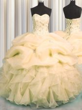 Visible Boning Champagne Sleeveless Floor Length Beading and Ruffles and Pick Ups Lace Up Ball Gown Prom Dress