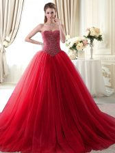 Hot Selling Red Lace Up Sweetheart Beading Quinceanera Dress Tulle Sleeveless Brush Train