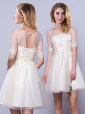 Champagne Lace Up Scoop Appliques Dama Dress for Quinceanera Tulle Half Sleeves