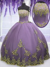 Floor Length Zipper Quinceanera Gown Lavender for Military Ball and Sweet 16 and Quinceanera with Appliques