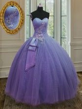 Lavender Sleeveless Beading and Ruching and Bowknot Floor Length 15 Quinceanera Dress
